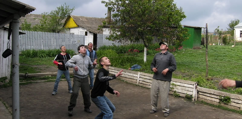 Moldovan youths playing volleyball