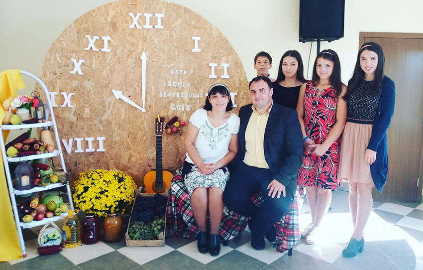Pastor Andrei with his family celebrating Harvest